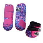 Kit Simples Color Boots Horse Cloche e Caneleira - Estampa A18 / Velcro Rosa