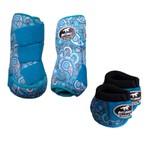 Kit Simples Color Boots Horse Cloche e Caneleira - Estampa A21 / Velcro Azul Turquesa