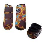 Kit Simples Color Boots Horse Cloche e Caneleira - Estampa A19 / Velcro Marrom