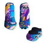Kit Simples Color Boots Horse Cloche e Caneleira - Estampa A11 / Velcro Turquesa