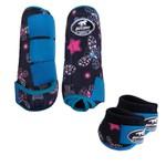 Kit Simples Color Boots Horse Cloche e Caneleira - Estampa A12 / Velcro Turquesa
