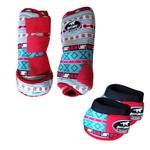 Kit Simples Color Boots Horse Cloche e Caneleira - Estampa A14 / Velcro Vermelho