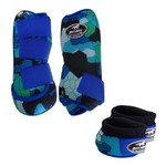 Kit Simples Color Boots Horse Cloche e Caneleira - Estampa A28 / Velcro Royal