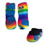 Kit Simples Color Boots Horse Cloche e Caneleira - Estampa A31 / Velcro Turquesa