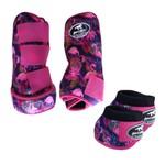 Kit Simples Color Boots Horse Cloche e Caneleira - Estampa A07 / Velcro Rosa
