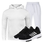 Kit Conjunto Moletom Masculino Branco + Tênis Masculino Sport Preto - Lorenzzo Lopez