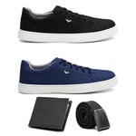 Kit 2 Pares Sapatênis Masculino Casual Preto/Azul + 2 Brindes