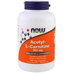 Acetil-L Carnitina - Now Foods - 500 mg - 200 Cápsulas Veganas