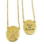 Escapulário Anjo da Guarda em ouro com Brilhantes