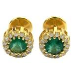 Par de Brincos em Ouro 18K com Diamantes e Esmeraldas Modelo Chuveiro