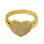 Anel Coração de Zircônias em Ouro