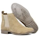 Bota Chelsea Boots Escrete Areia couro legítimo