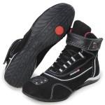 Tênis para motociclista com refletivo de cano alto de couro preto