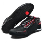 Tênis para motociclista com refletivo de cano baixo de couro preto nobuck