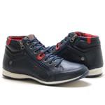 Bota Masculina Rota Shoes Cano Médio c zíper 100% couro Legítimo Azul