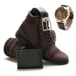 Kit Bota Masculina Rota Shoes Zíper Max Café c/ Relógio e carteira + cinto