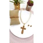 Colar de Pérolas com Crucifixo Cravejado de Strass Light Colorado Topaz