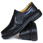 Sapato Social Focal Flex confort em Couro Preto 71219rp