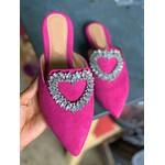 Mulle Bico Fino Rosa com Coração em Strass