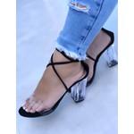 Sandália com Amarração Preta e Salto Cristal