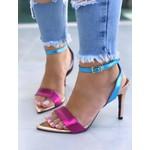 Sandália Metalizada Tiras Rosa e Azul