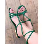 Sandalia Rasteira Verde Com Amarração