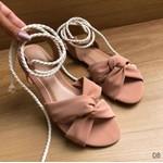 Sandalinha Baixa Com Amarração Nude