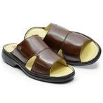 Sandália / Chinelo Conforto Levíssima Em Couro Cor Chocolate Ref. 699-1922