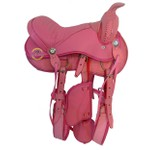 Sela Americana Infantil Rosa Para Ponei ou Cavalo Adulto