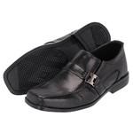 Sapato Social Infantil Em Couro cor Preto com detalhe em fivela prata