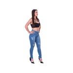 Calça Jeans Destroyed Feminina Cintura Alta Empina Bumbum
