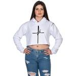 Cropped Moletom Feminino Branco Cruz Jesus - Selten