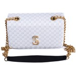 Bolsa Clutch Branca Pequena de Lado Alça de Corrente Dubai