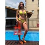 Bolsa Selten Transparente com Neon e Necessaire Laranja