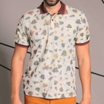 POLO WEEKEND PIQUET FLORAL GOLA MARROM