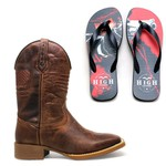 Bota Texana Rustic Flag + Chinelo Red Dead High Country