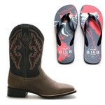 Bota Texana Bulls Horse + Chinelo Red Dead High Country
