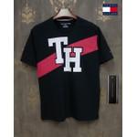Camiseta tommy Preta Faixa Vermelha
