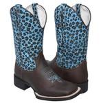 Bota Texana Animal Print Onça Azul em Couro