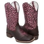 Bota Texana Animal Print Onça Pink em Couro