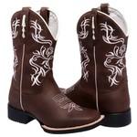 Bota Texana Feminina Marrom/Branco Couro TexasKing