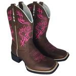 Bota Texana em Couro Bico Quadrado Bordado Tribal Rosa