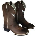 Bota Texana Bull em Couro Boi Marrom Bico Quadrado TexasKing