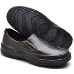 Sapato Social Masculino de Calçar Ortopédico Flexível e Conforto Cafe