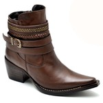 Bota Country Feminina Bico Fino Top Franca Shoes Caramelo
