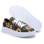 Sapatênis Feminino Top Franca Shoes Floral Preto Laranja