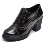 Bota Coturno Feminino Di Confort Ankle Boot Verniz Café