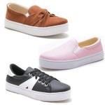 Kit 3 Pares Tenis Sapatenis Feminino Top Franca Shoes