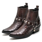 Bota Country Masculina Bico Fino Top Franca Shoes Cafe Avestruz