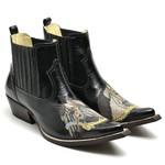 Botina Bota Country Bico Fino Top Franca Shoes Verniz Preto